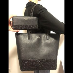 New Kate Spade glitter tote and wallet SET Black